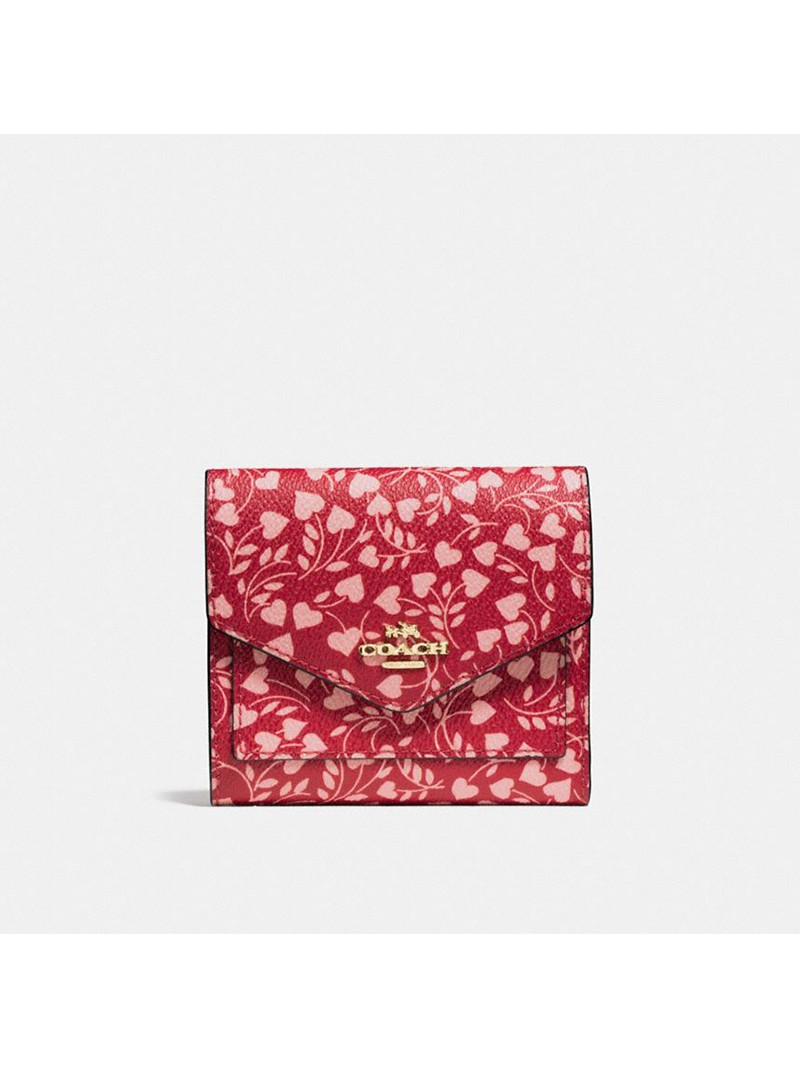 Coach Small Trifold Wallet with Love Leaf Print In Coated Canvas Red