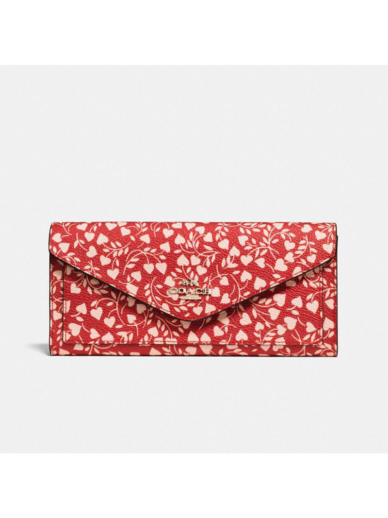 Coach Large Bifold Wallet with Love Leaf Print In Coated Canvas Red