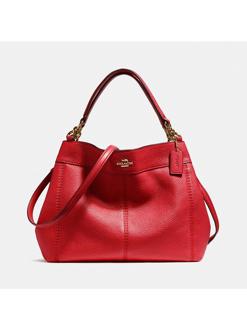 Coach Small Lexy Shoulder Bag in Refined Leather Red