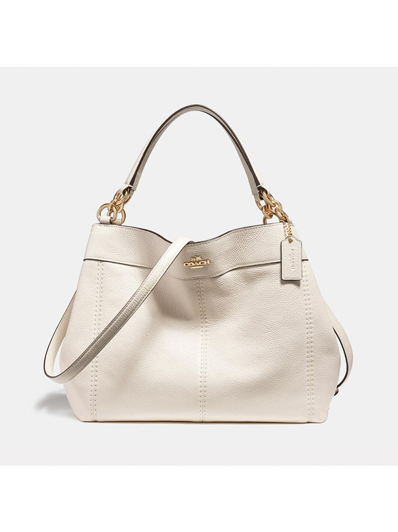 Coach Small Lexy Shoulder Bag in Refined Leather White