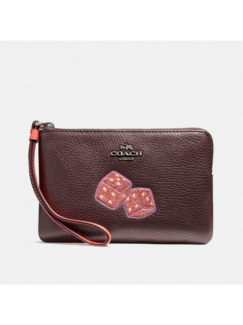 Coach Corner Zip Wristlet with Dice Motif in Pebble Leather Burgundy