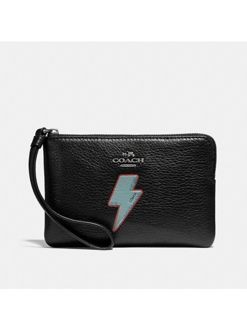 Coach Corner Zip Wristlet with Lightning Bolt Motif in Pebble Leather Black