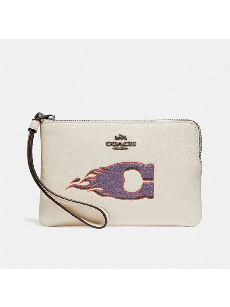 Coach Corner Zip Wristlet with C Flame Motif in Pebble Leather White