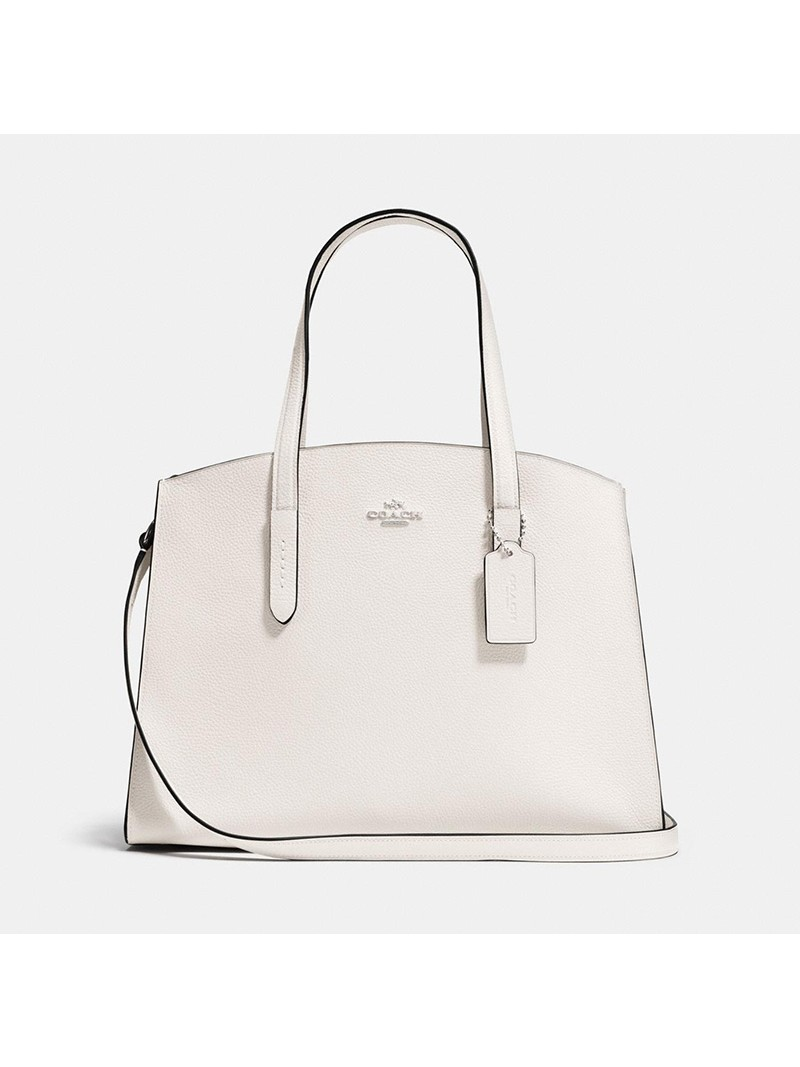 Coach Charlie Carryall in Pebble Leather White