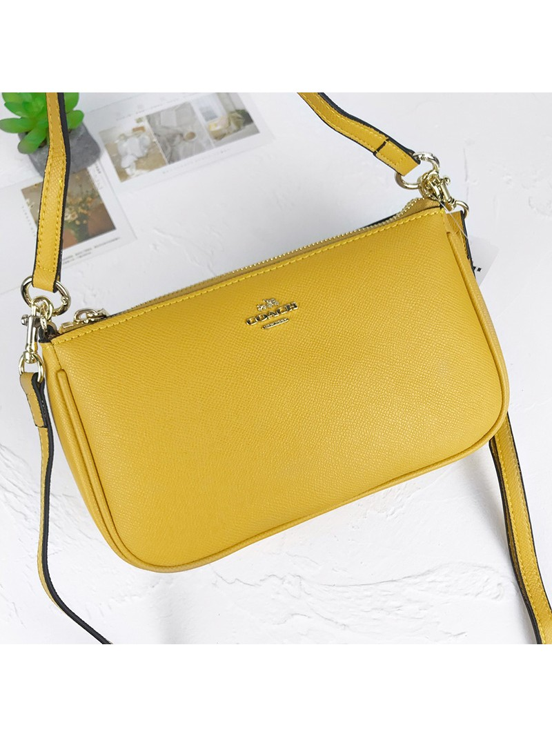 Coach Top Handle Pouch In Crossgrain Leather Yellow