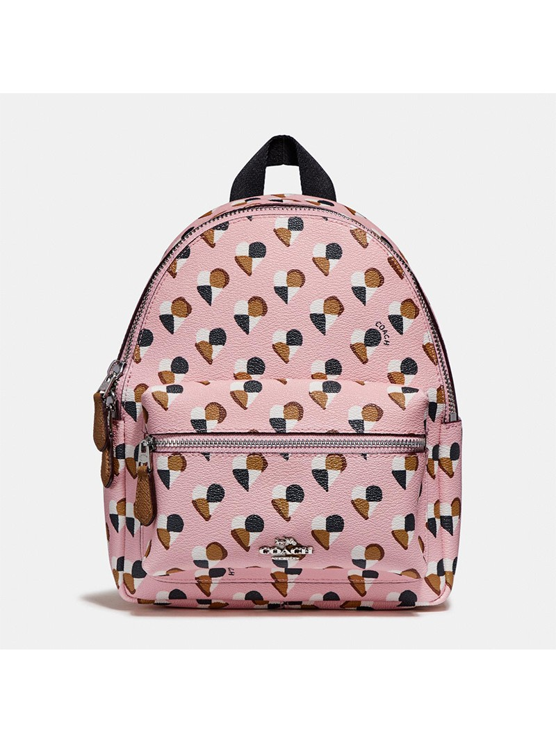 Coach Mini Charlie Backpack with Checker Heart Print in Signature Canvas Pink