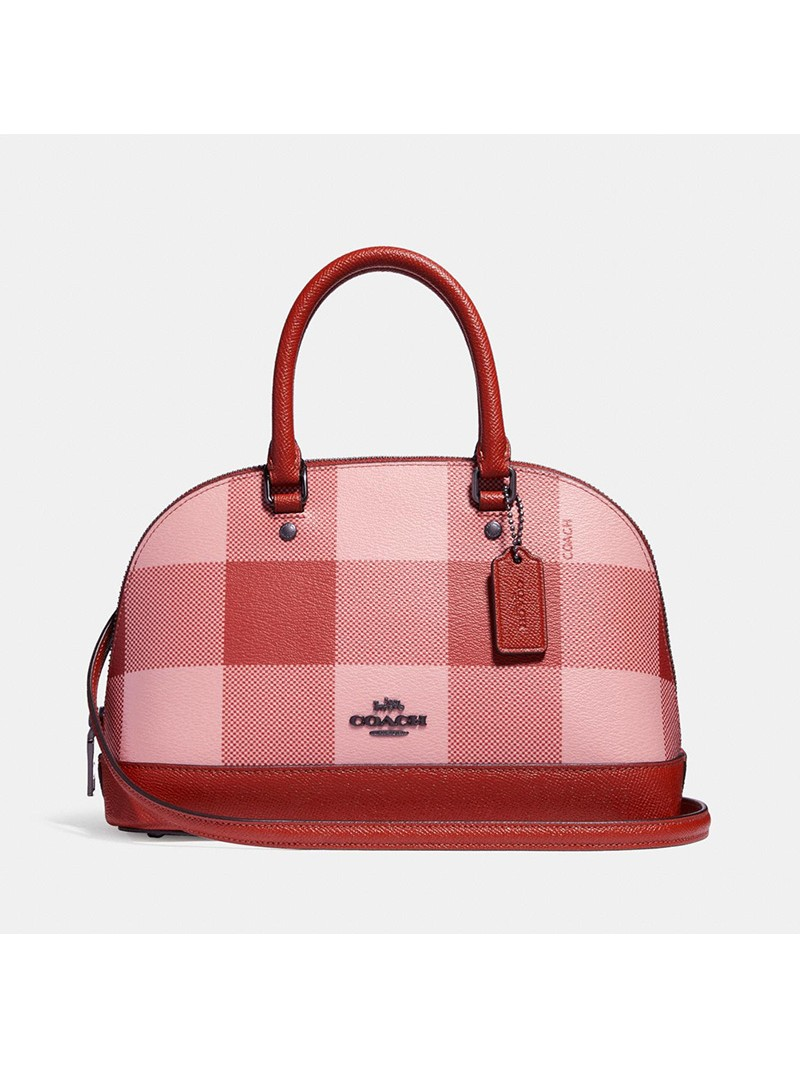 Coach Mini Sierra Satchel with Buffalo Plaid Print in Signature Canvas Pink