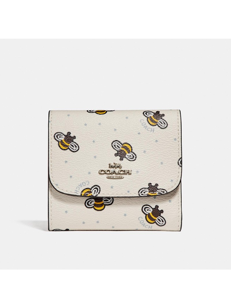 Coach Small Trifold Wallet with Bee Print in Signature Canvas White