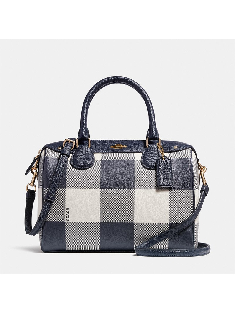 Coach Mini Bennett Boston Bag with Buffalo Plaid Print in Signature Canvas Black