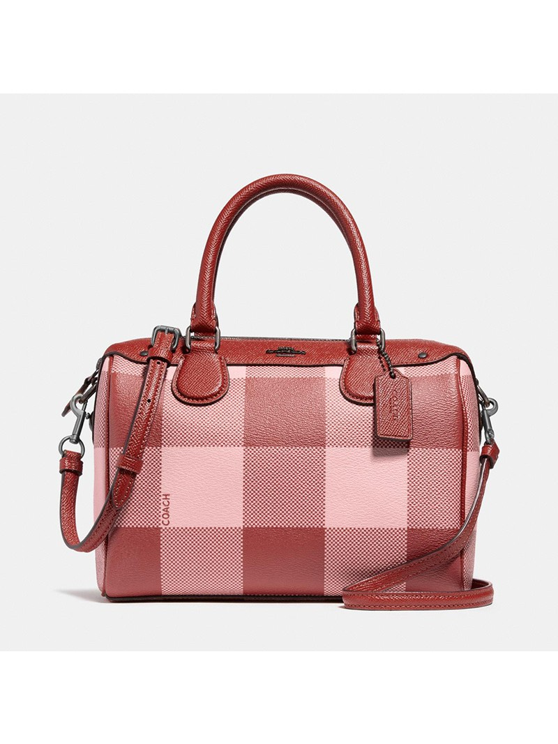 Coach Mini Bennett Boston Bag with Buffalo Plaid Print in Signature Canvas Pink