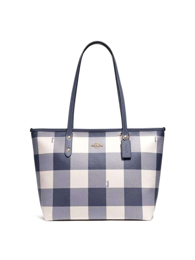 Coach City Tote with Buffalo Plaid Print in Canvas Black