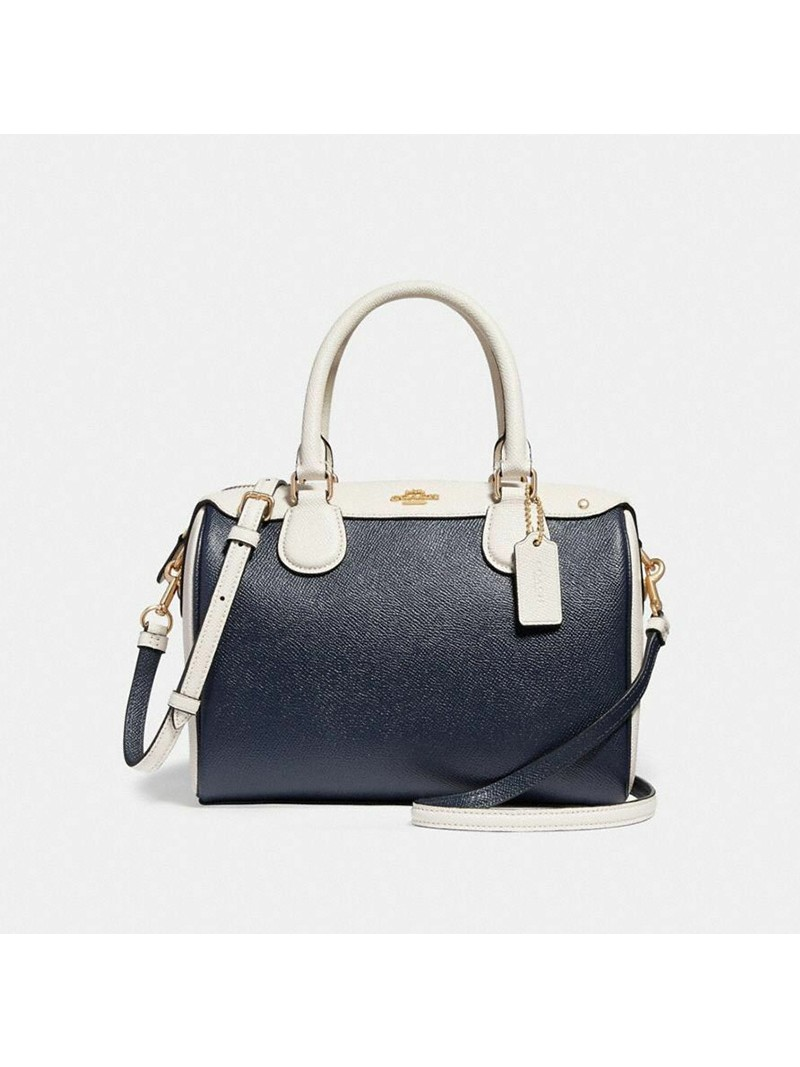 Coach Mini Bennett Boston Bag In Colorblock Leather Navy Blue