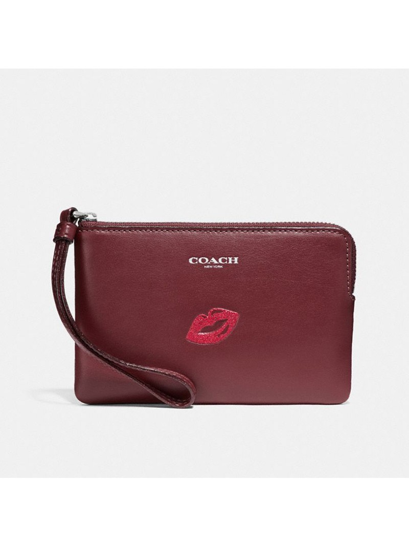 Coach Corner Zip Wristlet with Lips in Smooth Leather Burgundy