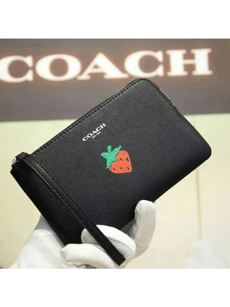 Coach Corner Zip Wristlet with Strawberry in Smooth Leather Black