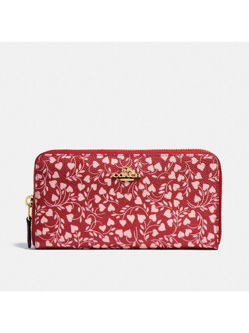 Coach Accordion Zip Wallet with Love Leaf Print in Coated Canvas Red