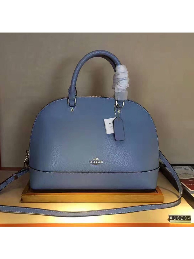 Coach Sierra Satchel In Crossgrain Leather Sky Blue