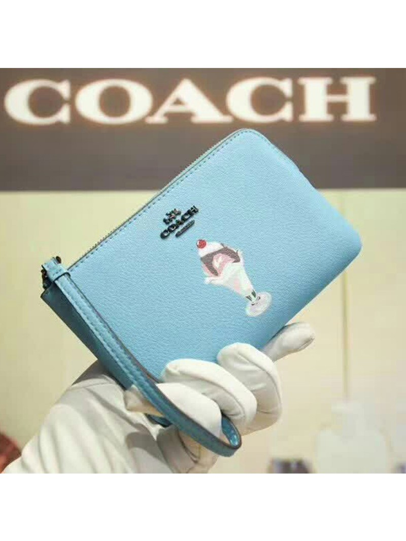 Coach Corner Zip Wristlet with Ice Cream Sundae Motif in Pebble Leather Sky Blue