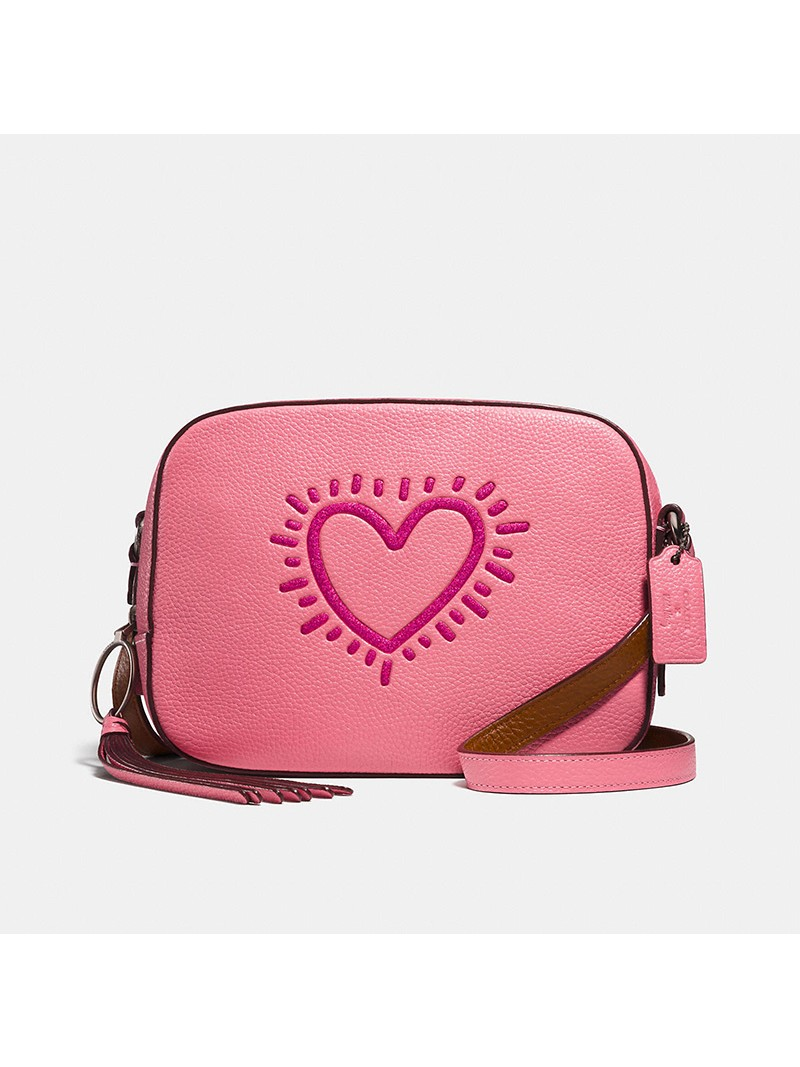 Keith Haring x Coach Camera Bag with Glitter Heart in Pebble Leather Pink