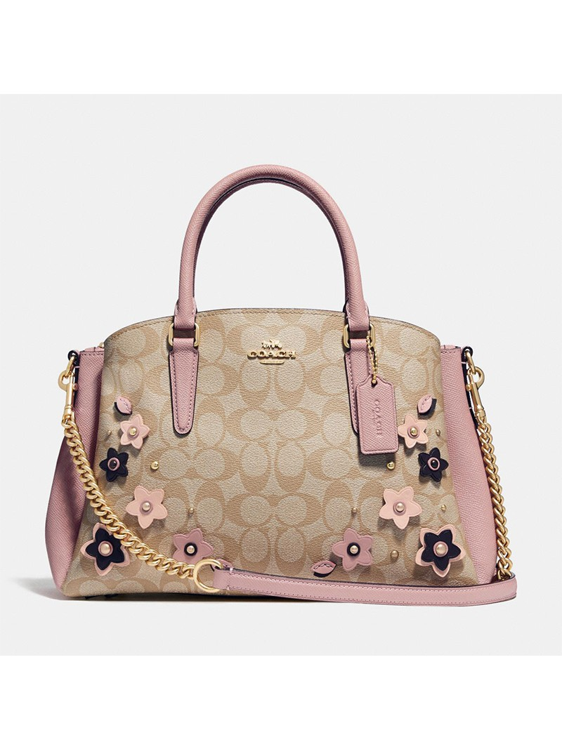 Coach Sage Carryall with Floral Applique in Signature Canvas Khaki