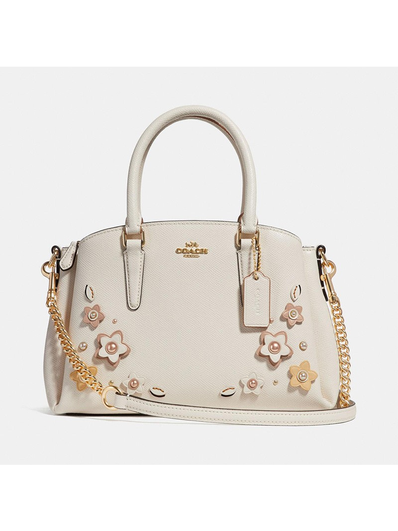 Coach Mini Sage Carryall With Floral Applique in Crossgrain Leather White