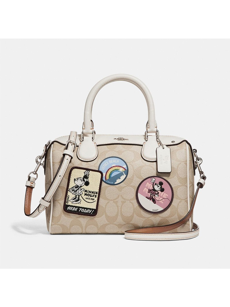 Disney x Coach Mini Bennett Boston Bag with Minnie Mouse Patches in Signature Canvas Apricot