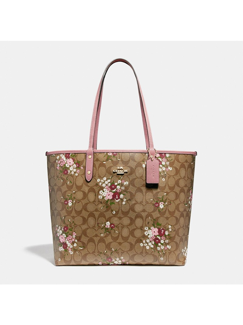 Coach City Reversible Tote with Floral Bundle Print in Signature Canvas Khaki