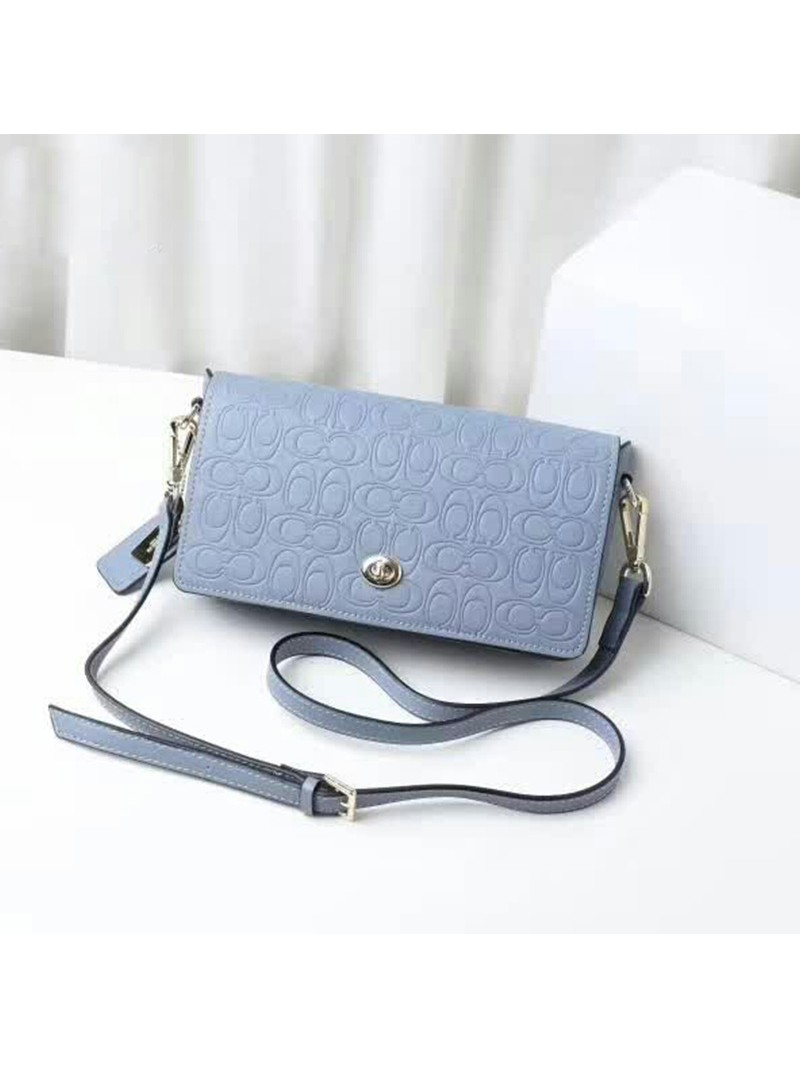 Coach Dinky Bag in Signature Leather Sky Blue