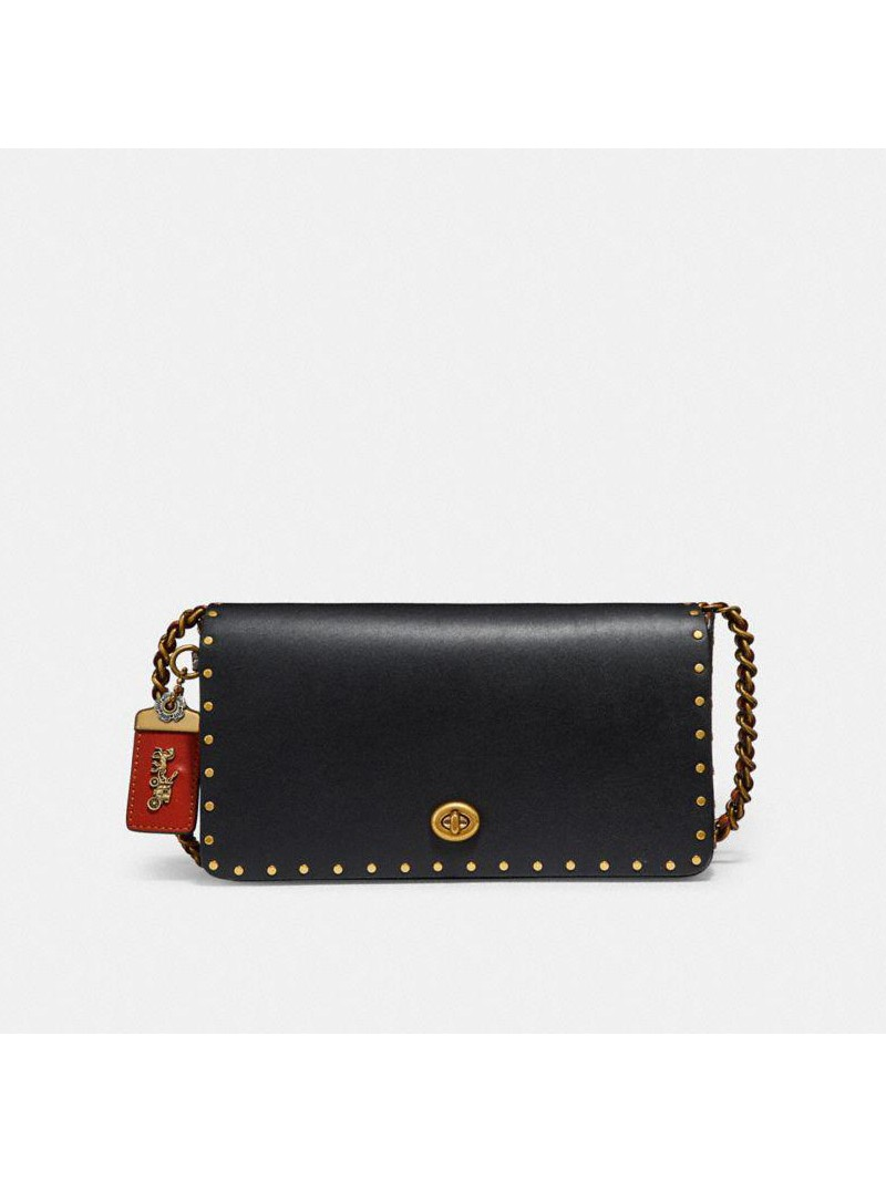 Coach Dinky Bag with Rivets in Glovetanned Leather and Snakeskin Black