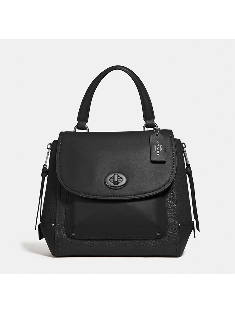 Coach Faye Backpack in Embossed and Smooth Leather Black