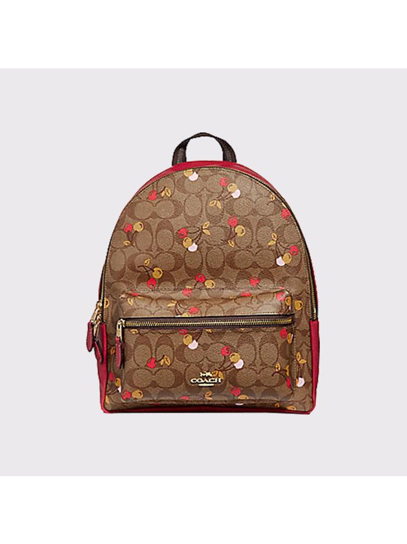Coach Charlie Backpack with Cherry Print in Signature Canvas Brown