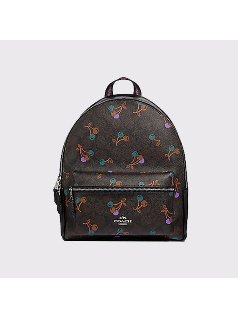 Coach Charlie Backpack with Cherry Print in Signature Canvas Coffee