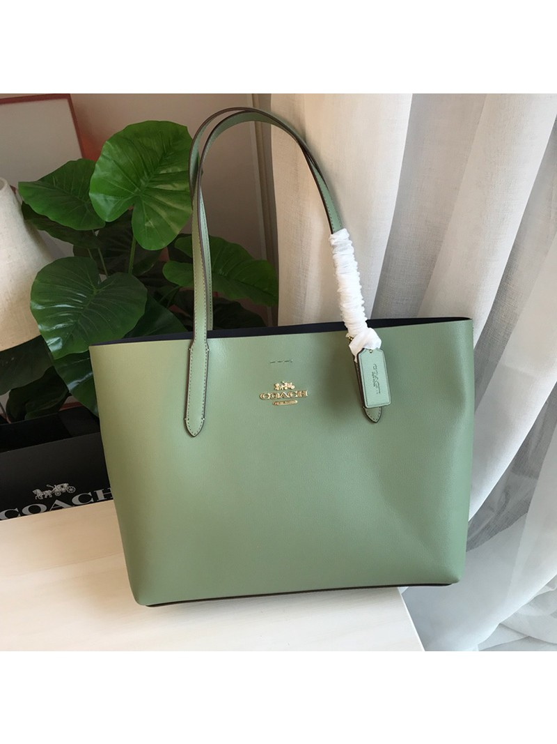 Coach Avenue Tote In Textured Leather Green