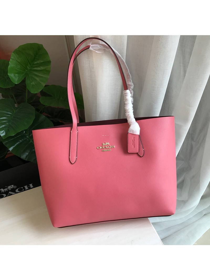 Coach Avenue Tote In Textured Leather Pink
