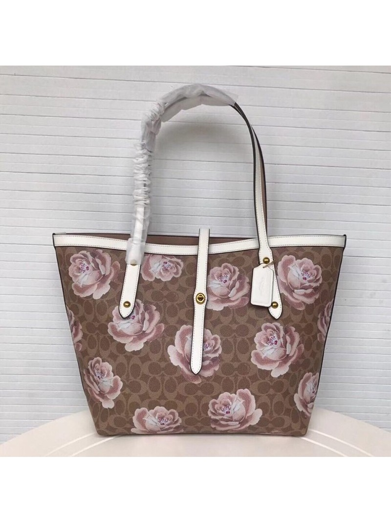 Coach Market Tote with Rose Print In Signature Canvas Brown