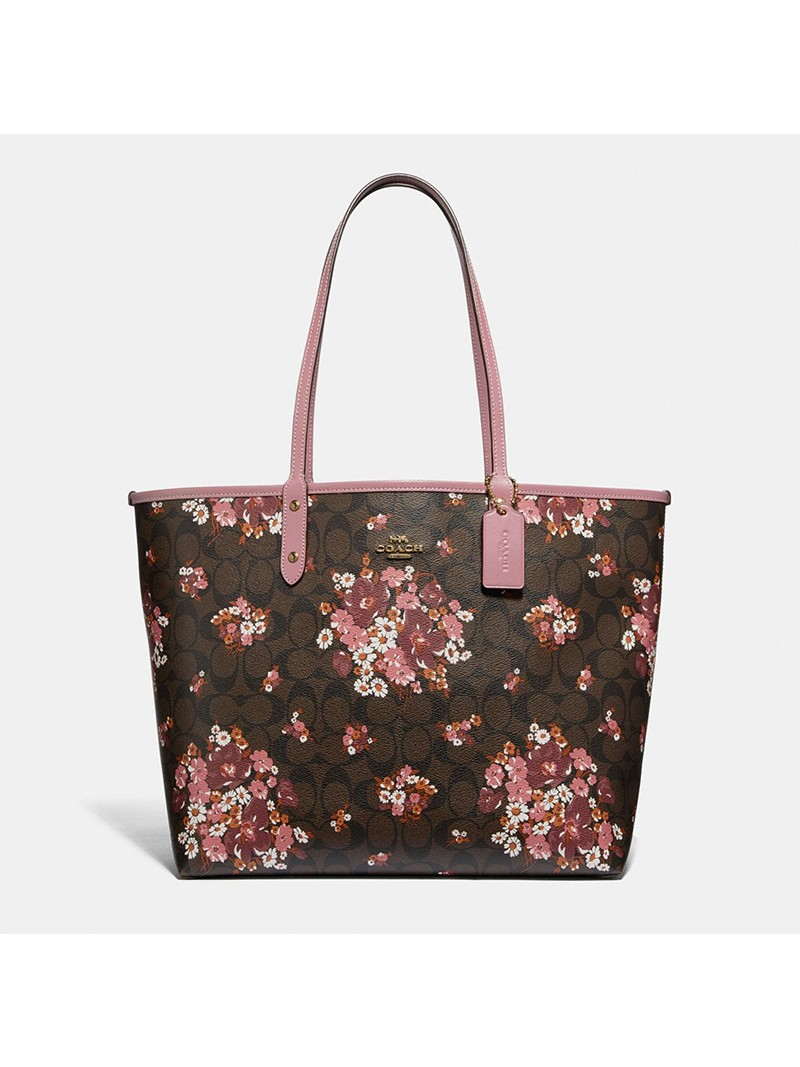 Coach City Reversible Tote with Medley Bouquet Print in Signature Canvas Coffee
