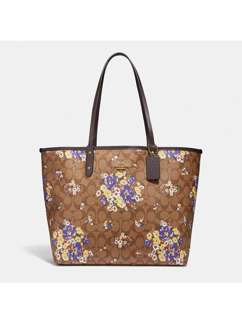 Coach City Reversible Tote with Medley Bouquet Print in Signature Canvas Khaki