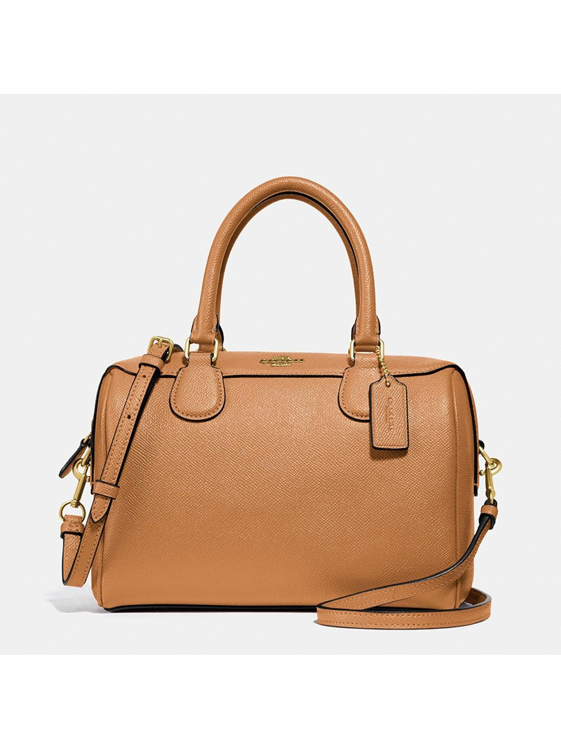 Coach Mini Bennett Boston Bag in Crossgrain Leather Brown