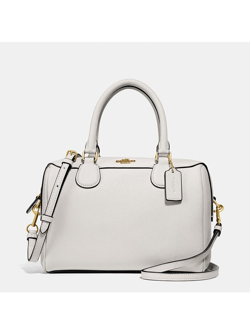 Coach Mini Bennett Boston Bag in Crossgrain Leather White