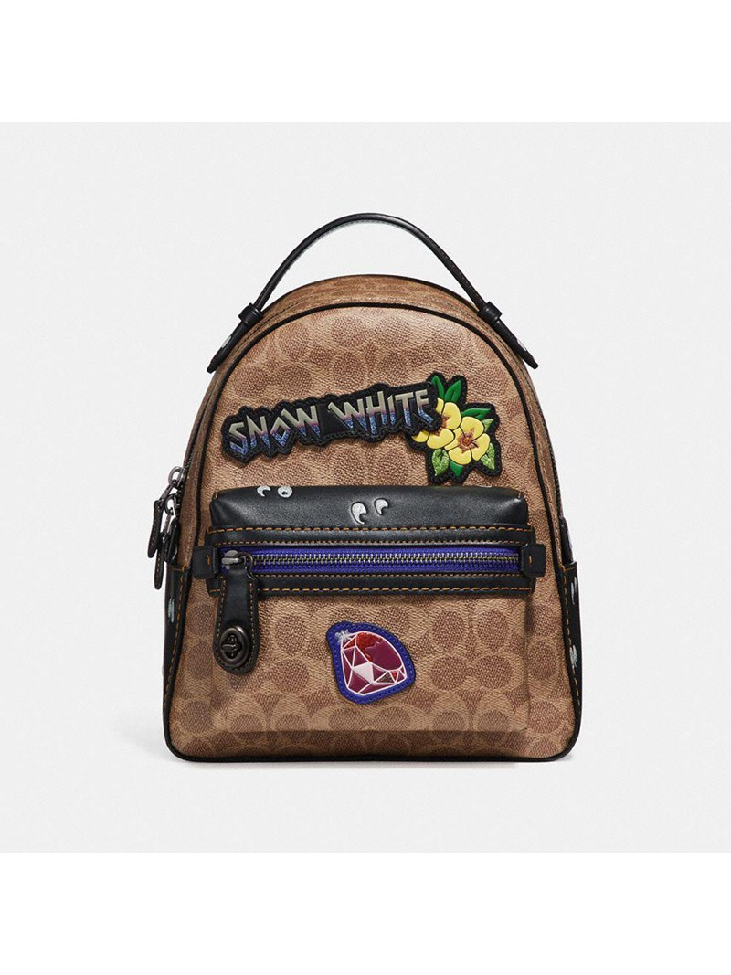 Disney x Coach Compus Backpack 23 with Patches in Signature Canvas Khaki