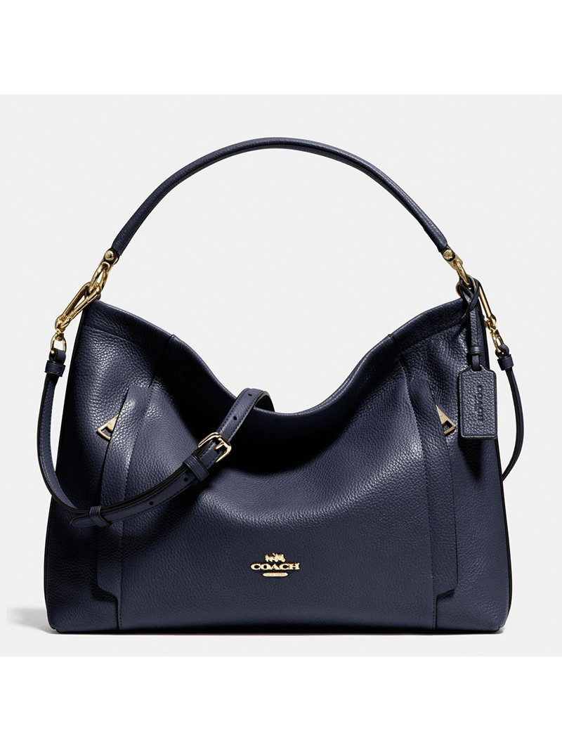 Coach Scout Hobo In Pebble Leather Navy Blue
