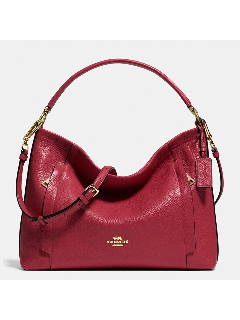 Coach Scout Hobo In Pebble Leather Red