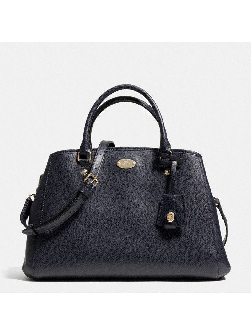 Coach Small Margot Carryall in Leather Navy Blue