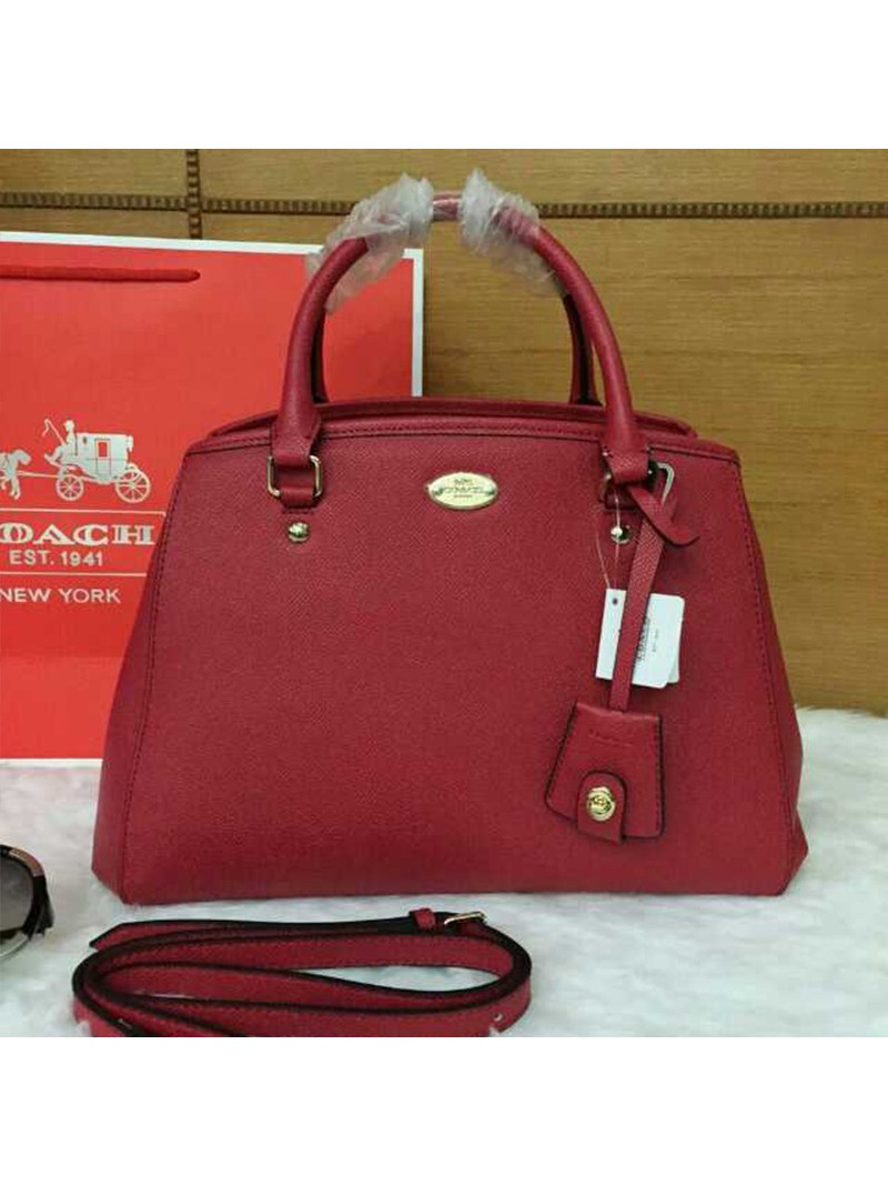 Coach Small Margot Carryall in Leather Red