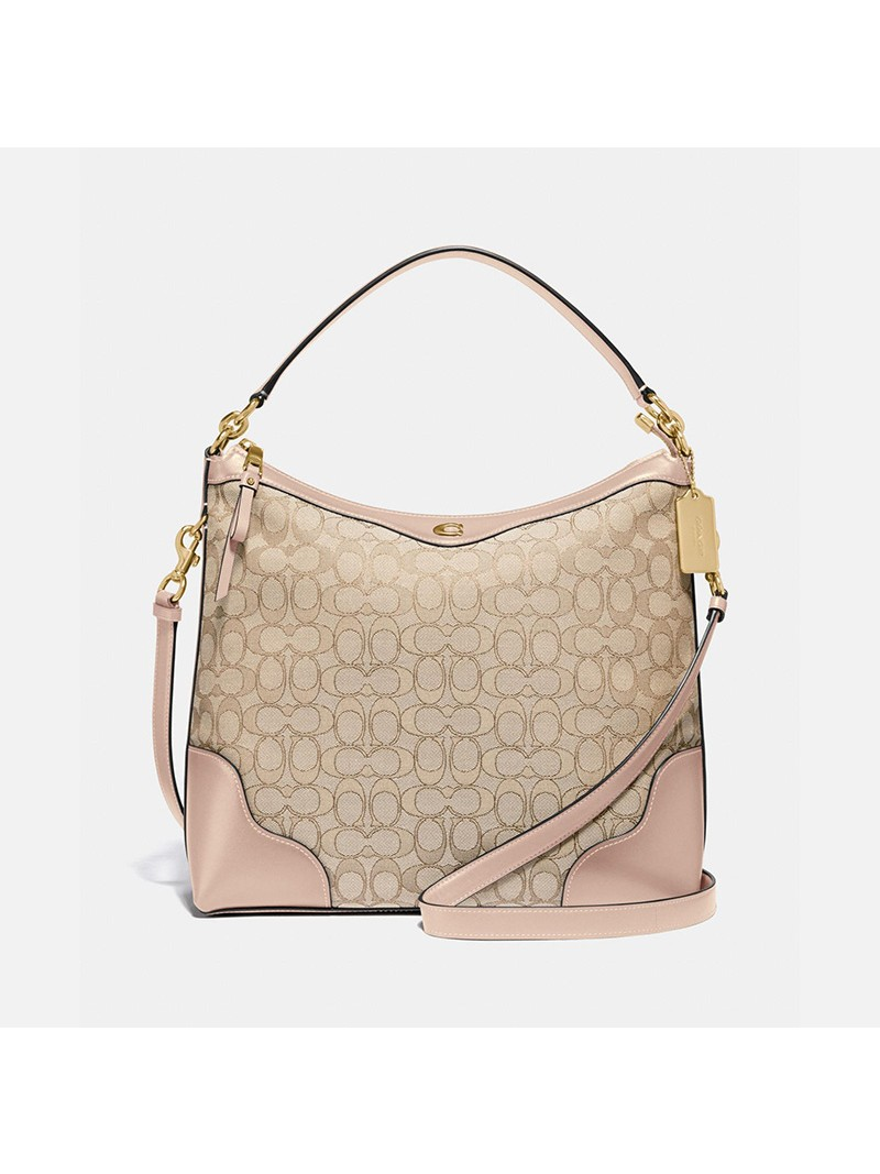Coach Ivie Hobo In Signature Jacquard Apricot