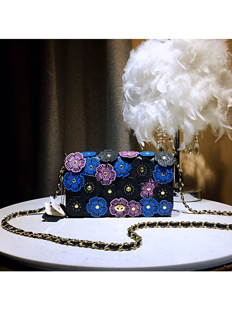 Coach Dinky Bag with Crystal Tea Rose In Glovetanned Leather Black