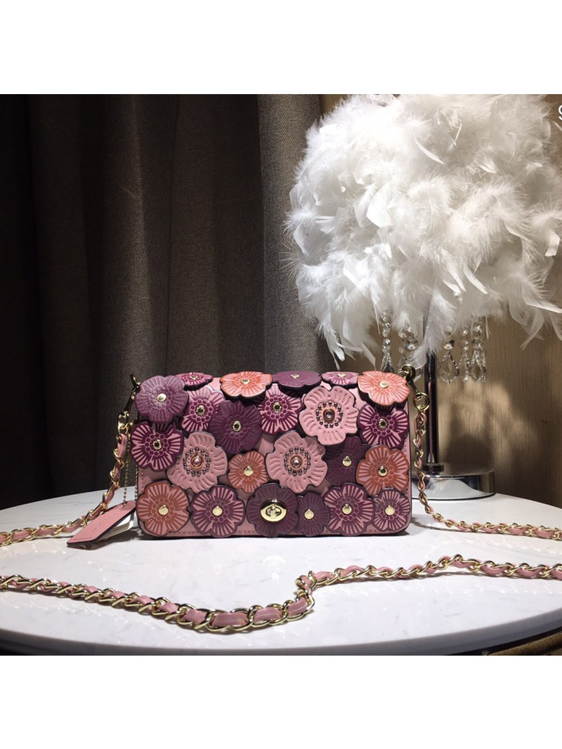 Coach Dinky Bag with Crystal Tea Rose In Glovetanned Leather Pink