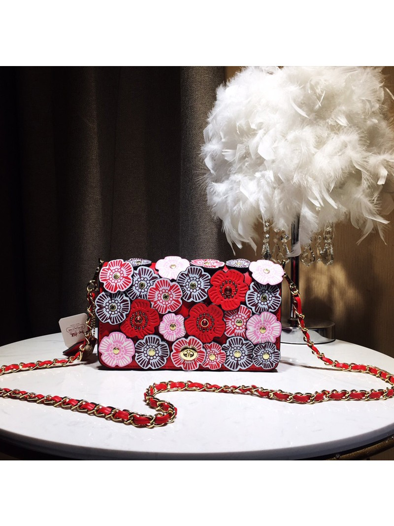 Coach Dinky Bag with Crystal Tea Rose In Glovetanned Leather Red