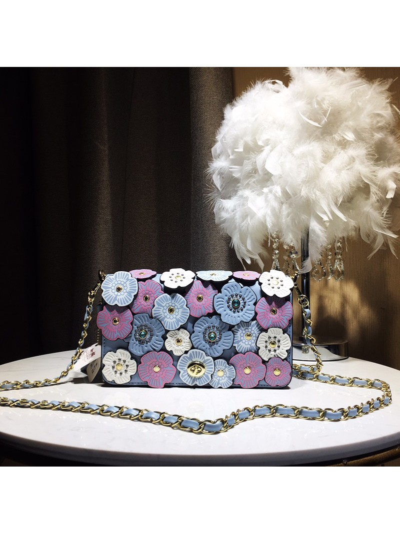 Coach Dinky Bag with Crystal Tea Rose In Glovetanned Leather Sky Blue