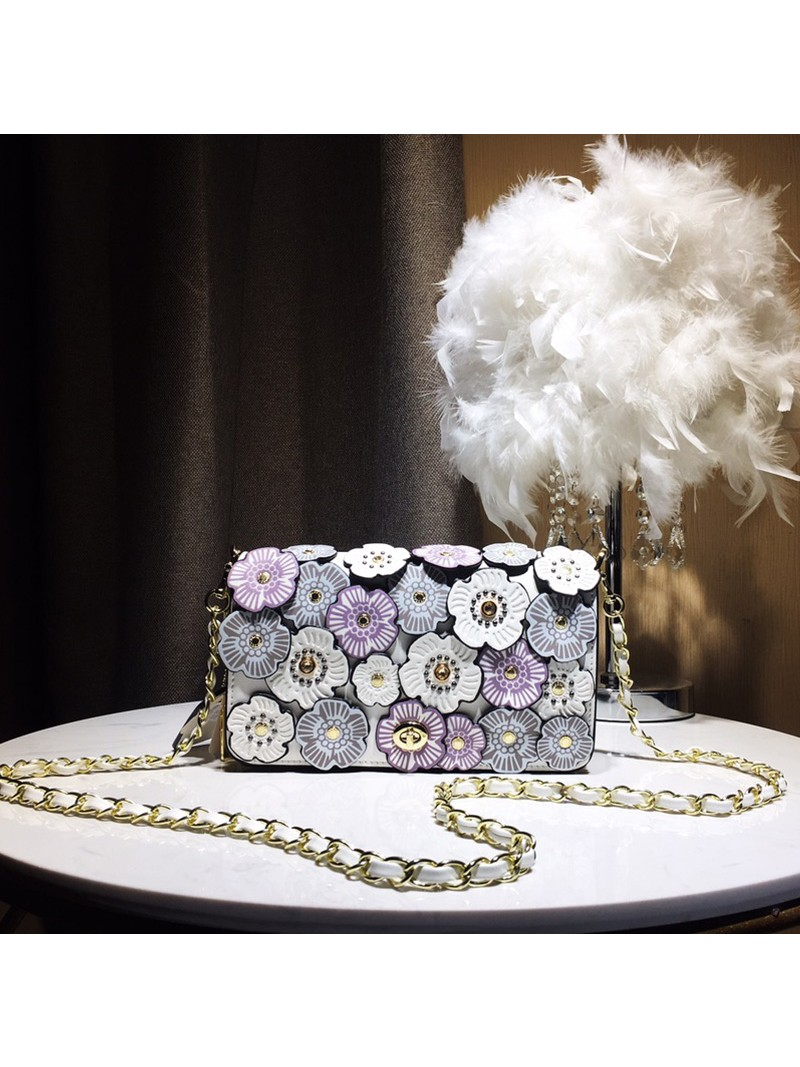 Coach Dinky Bag with Crystal Tea Rose In Glovetanned Leather White