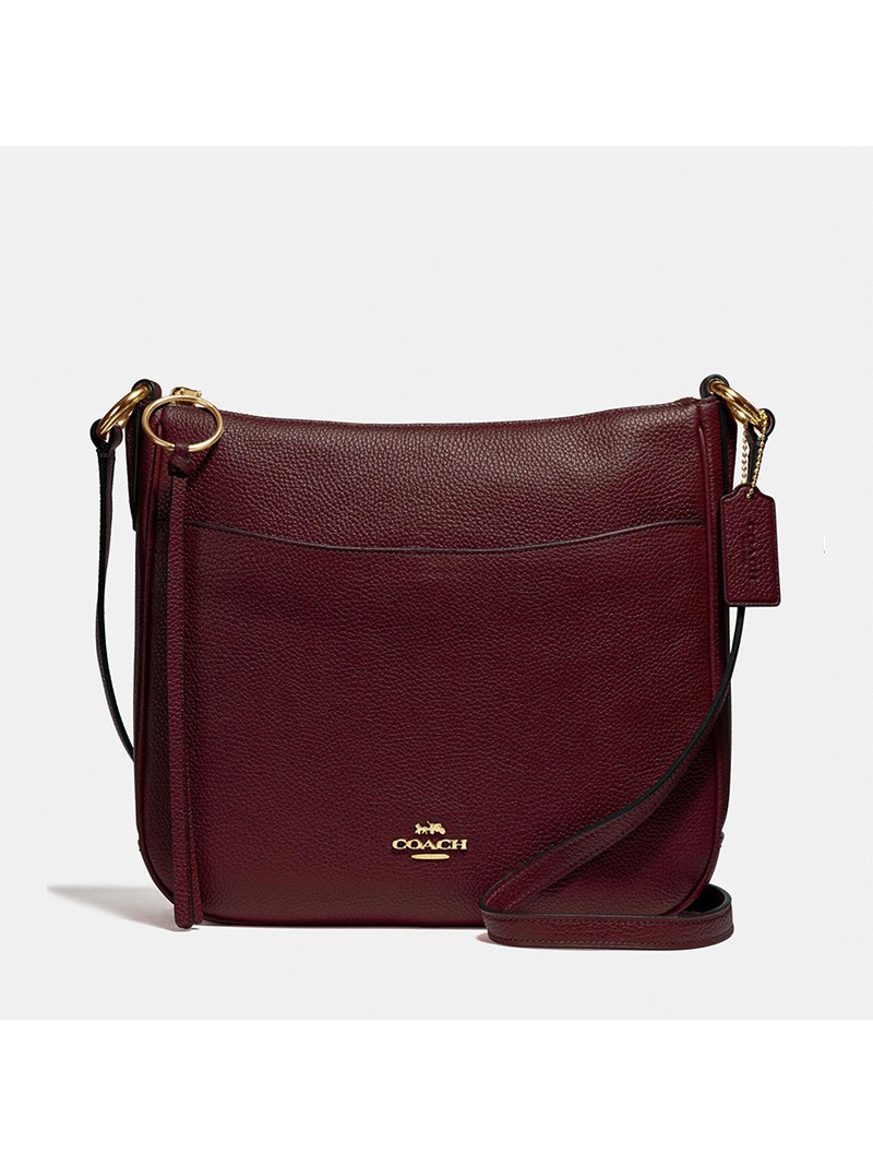 Coach Chaise Crossbody In Pebble Leather Burgundy